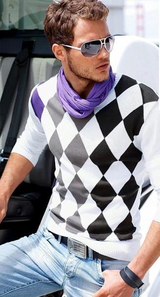 Herrenmode › Herrenmode der 30er Jahre Entscheiden Sie sich für einen weißen  und schwarzen Pullover mit einem V-Ausschnitt mit Argyle 2f0b907415