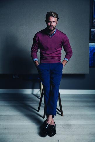 dunkellila Pullover mit einem V-Ausschnitt von Merc of London