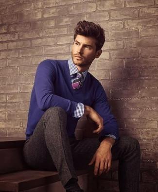 violetter Pullover mit einem V-Ausschnitt von Gant