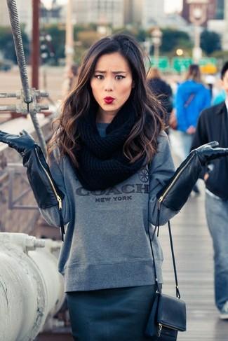 Pullover mit rundhalsausschnitt bleistiftrock umhaengetasche handschuhe schal large 6332