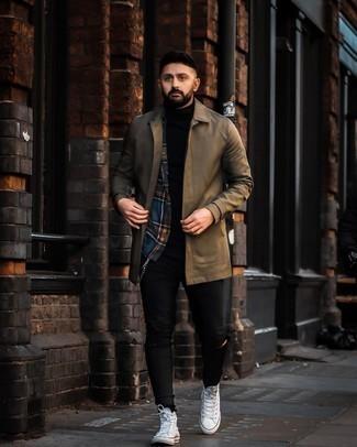 Dunkelblaues und grünes Langarmhemd mit Schottenmuster kombinieren – 19 Lässige Herren Outfits: Paaren Sie ein dunkelblaues und grünes Langarmhemd mit Schottenmuster mit schwarzen engen Jeans mit Destroyed-Effekten für einen entspannten Wochenend-Look. Weiße hohe Sneakers aus Segeltuch sind eine kluge Wahl, um dieses Outfit zu vervollständigen.