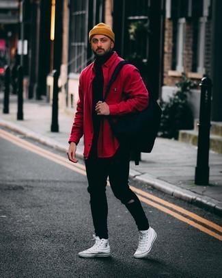 Rotes Langarmhemd kombinieren – 404 Herren Outfits: Für ein bequemes Couch-Outfit, kombinieren Sie ein rotes Langarmhemd mit schwarzen engen Jeans mit Destroyed-Effekten. Weiße hohe Sneakers aus Segeltuch sind eine ideale Wahl, um dieses Outfit zu vervollständigen.