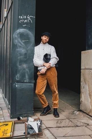 Schiebermütze kombinieren – 571+ Herren Outfits: Ein hellbeige Rollkragenpullover und eine Schiebermütze sind eine gute Outfit-Formel für Ihre Sammlung. Fühlen Sie sich ideenreich? Vervollständigen Sie Ihr Outfit mit einer schwarzen Lederfreizeitstiefeln.