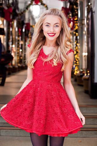 Rotes Kleid Und Kombinieren25 Schwarzes Ausgestelltes WDe2YEH9I