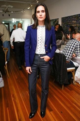 Sakko blaues pullover mit rundhalsausschnitt grauer jeans dunkelgraue stiefeletten schwarze large 5114