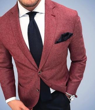 Rotes Wollsakko, Weißes Businesshemd, Schwarze Anzughose, Schwarze Strick Krawatte für Herren