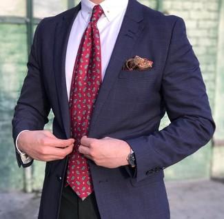 Wie kombinieren: dunkelblaues Sakko mit Schottenmuster, weißes Businesshemd, schwarze Anzughose, rote Krawatte mit Paisley-Muster