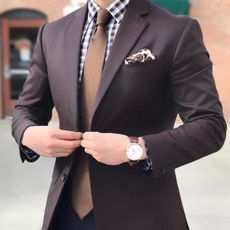 Wie kombinieren: dunkelbraunes Sakko, braunes Businesshemd mit Vichy-Muster, dunkelblaue Anzughose, braune Krawatte