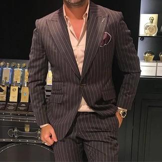 Wie kombinieren: dunkelbraunes vertikal gestreiftes Sakko, rosa Businesshemd, dunkelbraune vertikal gestreifte Anzughose, dunkelbraunes Seide Einstecktuch