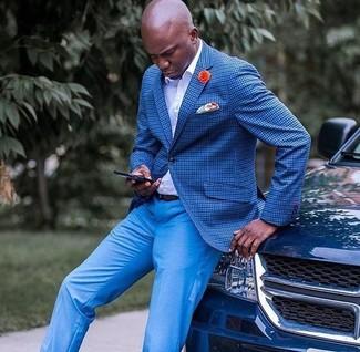 Wie kombinieren: blaues Sakko mit Karomuster, weißes Businesshemd, blaue Anzughose, orange bedrucktes Einstecktuch