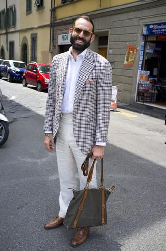 Armband kombinieren – 500+ Herren Outfits: Erwägen Sie das Tragen von einem grauen Sakko mit Vichy-Muster und einem Armband für einen entspannten Wochenend-Look. Braune Monks aus Leder bringen klassische Ästhetik zum Ensemble.