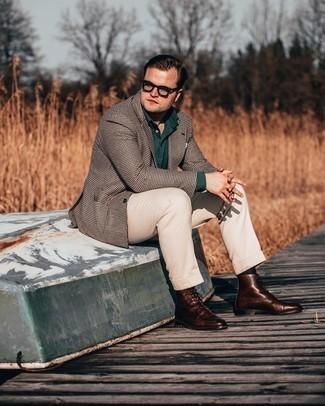 Transparente Sonnenbrille kombinieren – 500+ Herren Outfits: Halten Sie Ihr Outfit locker mit einem dunkelbraunen Sakko mit Hahnentritt-Muster und einer transparenten Sonnenbrille. Ergänzen Sie Ihr Outfit mit einer dunkelbraunen Lederfreizeitstiefeln, um Ihr Modebewusstsein zu zeigen.