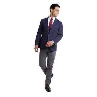 Wie kombinieren: dunkelblaues Sakko, weißes Businesshemd, dunkelgraue Chinohose, schwarze Chukka-Stiefel aus Leder