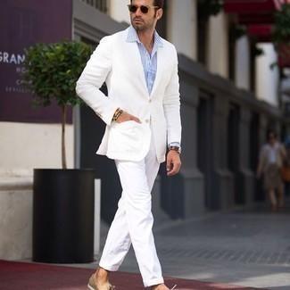 Bootsschuhe kombinieren – 536+ Herren Outfits: Kombinieren Sie ein weißes Sakko mit einer weißen Chinohose für einen für die Arbeit geeigneten Look. Bootsschuhe leihen Originalität zu einem klassischen Look.