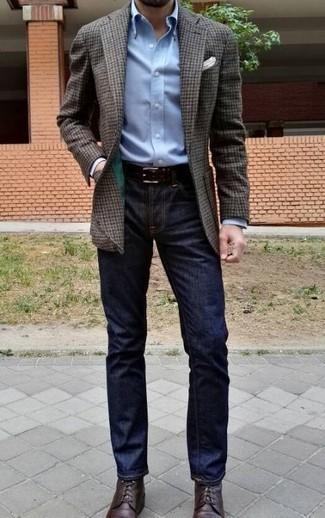 Dunkelbraunen Ledergürtel kombinieren – 500+ Herren Outfits: Kombinieren Sie ein dunkelbraunes Wollsakko mit Vichy-Muster mit einem dunkelbraunen Ledergürtel für einen entspannten Wochenend-Look. Putzen Sie Ihr Outfit mit einer dunkelbraunen Lederfreizeitstiefeln.