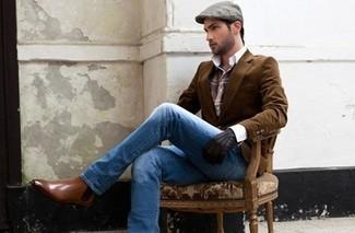 Die Kombination aus einem braunen Kordsakko und hellblauen Jeans eignet sich hervorragend zum Ausgehen oder für modisch-lässige Anlässe. Braune Chelsea-Stiefel aus Leder putzen umgehend selbst den bequemsten Look heraus.