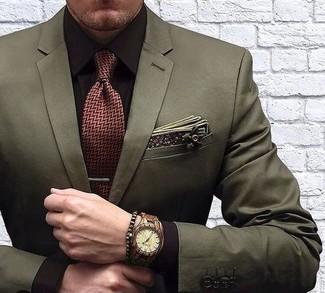 Wie kombinieren: olivgrünes Sakko, dunkelbraunes Businesshemd, dunkelrote Krawatte mit Fischgrätenmuster, olivgrünes Baumwolle Einstecktuch mit Blumenmuster