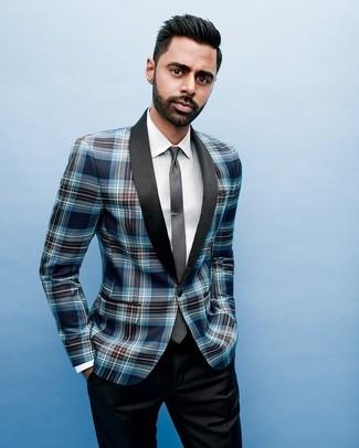 Wie kombinieren: dunkelblaues Sakko mit Schottenmuster, weißes Businesshemd, schwarze Anzughose, schwarze Krawatte