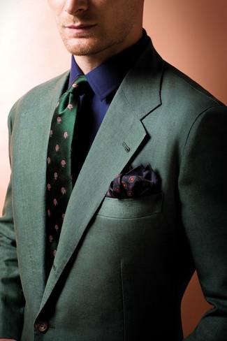 Wie kombinieren: dunkelgrünes Sakko, dunkelblaues Businesshemd, dunkelgrüne Seidekrawatte mit Blumenmuster, schwarzes bedrucktes Einstecktuch