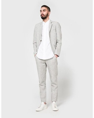 weiße Leder niedrige Sneakers von Philippe Model