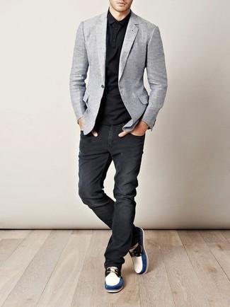 graues sakko blaues hemd