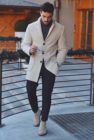Graue Chelsea Boots aus Wildleder kombinieren – 85 Herren Outfits: Kombinieren Sie ein graues Wollsakko mit einer schwarzen Chinohose für Ihren Bürojob. Fühlen Sie sich ideenreich? Ergänzen Sie Ihr Outfit mit grauen Chelsea Boots aus Wildleder.