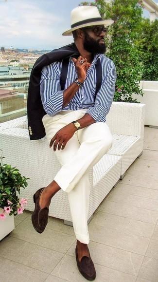 Hosenträger kombinieren – 302 Herren Outfits: Entscheiden Sie sich für ein schwarzes Sakko und einen Hosenträger für einen entspannten Wochenend-Look. Fühlen Sie sich ideenreich? Komplettieren Sie Ihr Outfit mit dunkelbraunen Wildleder Slippern.