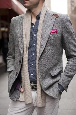 graues Wollsakko mit Fischgrätenmuster von Versace