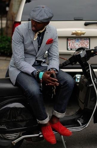 Perfektionieren Sie den modischen Freizeitlook mit einem schwarzen und weißen Sakko mit Vichy-Muster und dunkelblauen Jeans. Rote Wildleder Brogues sind eine perfekte Wahl, um dieses Outfit zu vervollständigen.