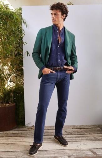 Bootsschuhe kombinieren – 500+ Herren Outfits: Vereinigen Sie ein dunkelgrünes Sakko mit dunkelblauen Jeans, wenn Sie einen gepflegten und stylischen Look wollen. Wenn Sie nicht durch und durch formal auftreten möchten, wählen Sie Bootsschuhe.