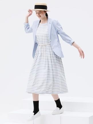Weißes horizontal gestreiftes Kleid kombinieren (66 Outfits
