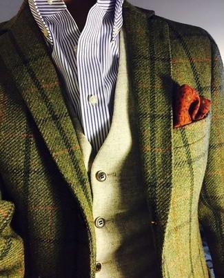 Wie kombinieren: olivgrünes Wollsakko mit Karomuster, olivgrüne Wollweste, weißes und dunkelblaues vertikal gestreiftes Businesshemd, orange bedrucktes Einstecktuch
