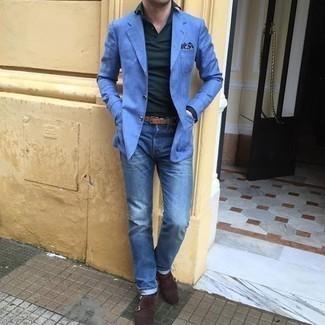 Braunen Ledergürtel kombinieren – 500+ Herren Outfits: Für ein bequemes Couch-Outfit, vereinigen Sie ein blaues Sakko mit einem braunen Ledergürtel. Komplettieren Sie Ihr Outfit mit dunkelbraunen Doppelmonks aus Wildleder, um Ihr Modebewusstsein zu zeigen.
