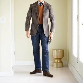 Weißes Businesshemd kombinieren – 500+ Herren Outfits: Kombinieren Sie ein weißes Businesshemd mit dunkelblauen Jeans für einen für die Arbeit geeigneten Look. Wenn Sie nicht durch und durch formal auftreten möchten, wählen Sie dunkelbraunen Chukka-Stiefel aus Wildleder.