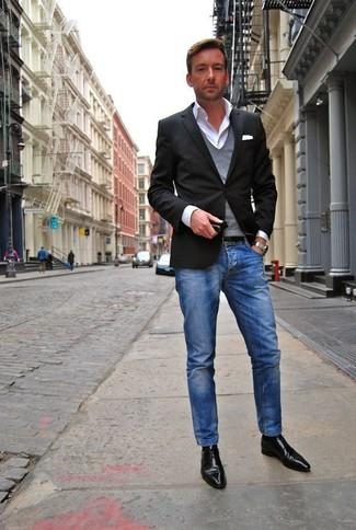 Schwarzes jackett blaue jeans