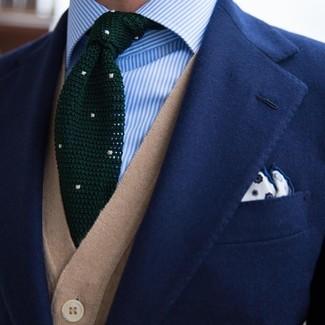 hellblaues vertikal gestreiftes Businesshemd von Calvin Klein