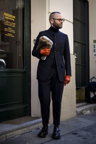 dunkelblaues Wollsakko von Farah Smart