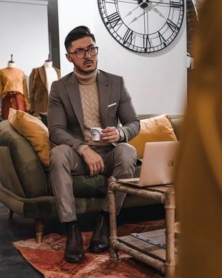 Weißes Einstecktuch kombinieren – 500+ Herren Outfits: Halten Sie Ihr Outfit locker mit einem braunen Sakko mit Karomuster und einem weißen Einstecktuch. Heben Sie dieses Ensemble mit dunkelbraunen Chelsea Boots aus Leder hervor.