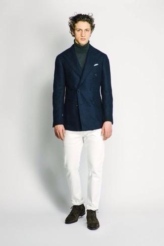 20 Jährige: Outfits Herren 2020: Kombinieren Sie ein dunkelblaues Wollsakko mit einem dunkelgrünen Wollrollkragenpullover, um einen modischen Freizeitlook zu kreieren.