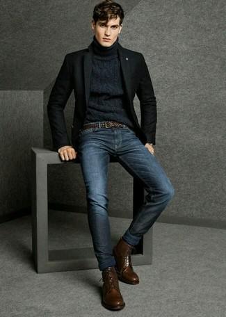 Tragen Sie ein schwarzes Wollsakko und dunkelblauen Jeans für Drinks nach der Arbeit. Vervollständigen Sie Ihr Outfit mit dunkelbraunen lederformellen stiefeln, um Ihr Modebewusstsein zu zeigen.