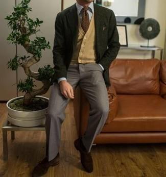 Dunkelgrünes Sakko kombinieren – 238 Herren Outfits: Geben Sie den bestmöglichen Look ab in einem dunkelgrünen Sakko und einer grauen Anzughose. Dunkelbraune Monks aus Wildleder sind eine kluge Wahl, um dieses Outfit zu vervollständigen.