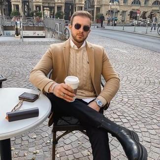 Jacke kombinieren – 500+ Herren Outfits: Kombinieren Sie eine Jacke mit einer schwarzen Chinohose, um einen modischen Freizeitlook zu kreieren. Schwarze Chelsea Boots aus Leder putzen umgehend selbst den bequemsten Look heraus.