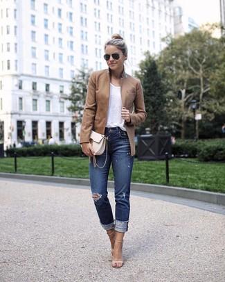 dunkelblaue enge Jeans mit Destroyed-Effekten von Mother