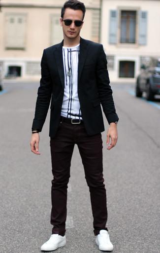 dunkelrote enge Jeans von LDN DNM