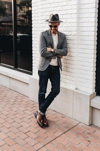 Schuhe schwarzes sakko braune Blaues Hemd