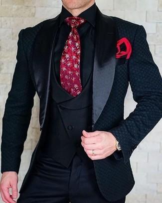Wie kombinieren: schwarzes Satinsakko, schwarze Weste, schwarzes Businesshemd, schwarze Anzughose