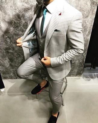 Wie kombinieren: graues Sakko mit Vichy-Muster, graue Weste, weißes Businesshemd, graue Anzughose