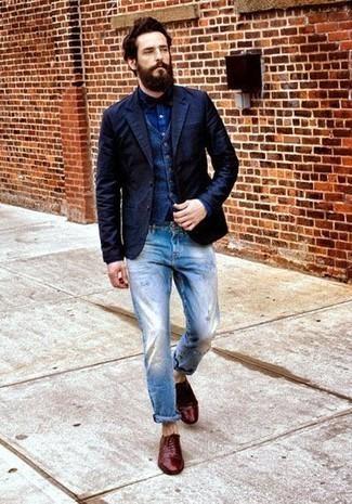 dunkelblaue Jacke von CALAMAR MENSWEAR