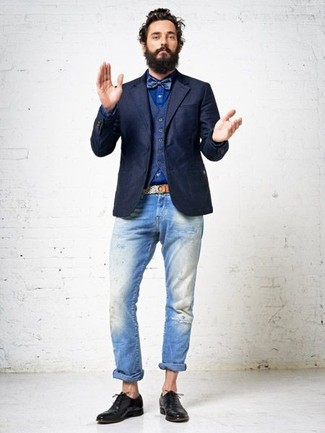 dunkelblaues wollsakko dunkelblaue weste blaues jeanshemd hellblaue jeans mit destroyed. Black Bedroom Furniture Sets. Home Design Ideas