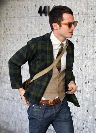 Sakko weste langarmhemd jeans umhaengetasche krawatte guertel sonnenbrille large 7522
